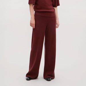 COS Knitted Burgundy Palazzo Pants